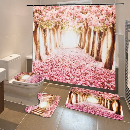 4Pcs Pink Sakura Waterproof Shower Cutain with Hooks Bathroom Set Toilet Base Pedestal Rug + Lid Toilet Cover + Non-Slip Bath Mat Doormat Home Decor Christmas Gift