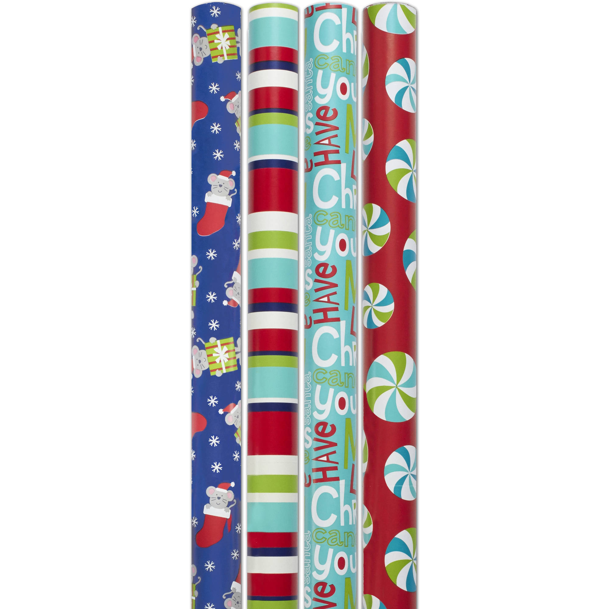 """Holiday Time 30"""" Wide 4 Rolls Mouse Gift Wrapping Paper"""