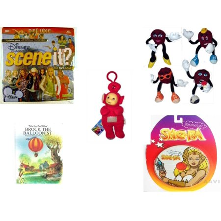 Children's Gift Bundle [5 Piece] -  Disney Channel Scene It? Deluxe  in Tin - 1988 Applause California Raisins Bendable Set of 4  - Teletubbies  Red Po With Hang Clip 8
