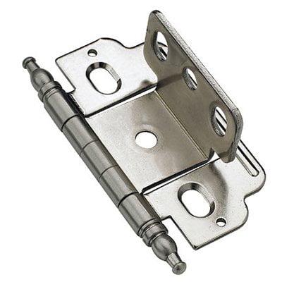 - 3/4 in (19 mm) Door Thickness Full Inset, Full Wrap, Minaret Tip Sterling Nickel Hinge