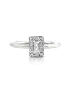 Sterling Silver Baguette & Cubic Zirconia Round Ring