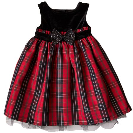 School Apparel Plaid Jumper - Good Lad Toddler Girls Red and Black Plaid Holiday Dress with Velvet Yoke