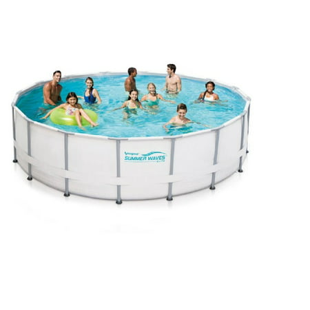 summer waves elite 16 39 x 48 round premium metal frame above ground swimming pool with deluxe. Black Bedroom Furniture Sets. Home Design Ideas