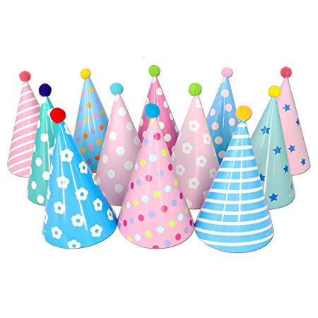 Birthday Party Cone Hats With Pom Poms