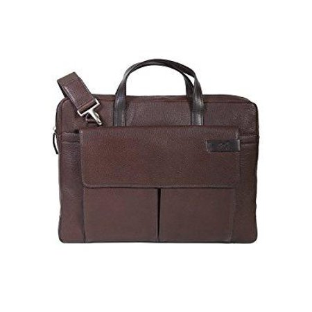 - scully leather travolta slim top zip laptop/tablet brief bag brown