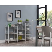 Liese 3 Piece White Metal & Wood Transitional Freestanding 3, 4 and 5 Tier Shelf Kitchen Bakers Rack Storage Organizer Unit Set