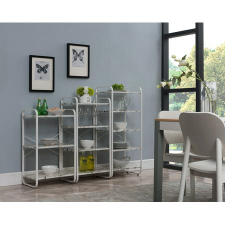 Liese 3 Piece White Metal & Wood Transitional Freestanding 3, 4 and 5 Tier Shelf Kitchen Bakers Rack Storage Organizer Unit