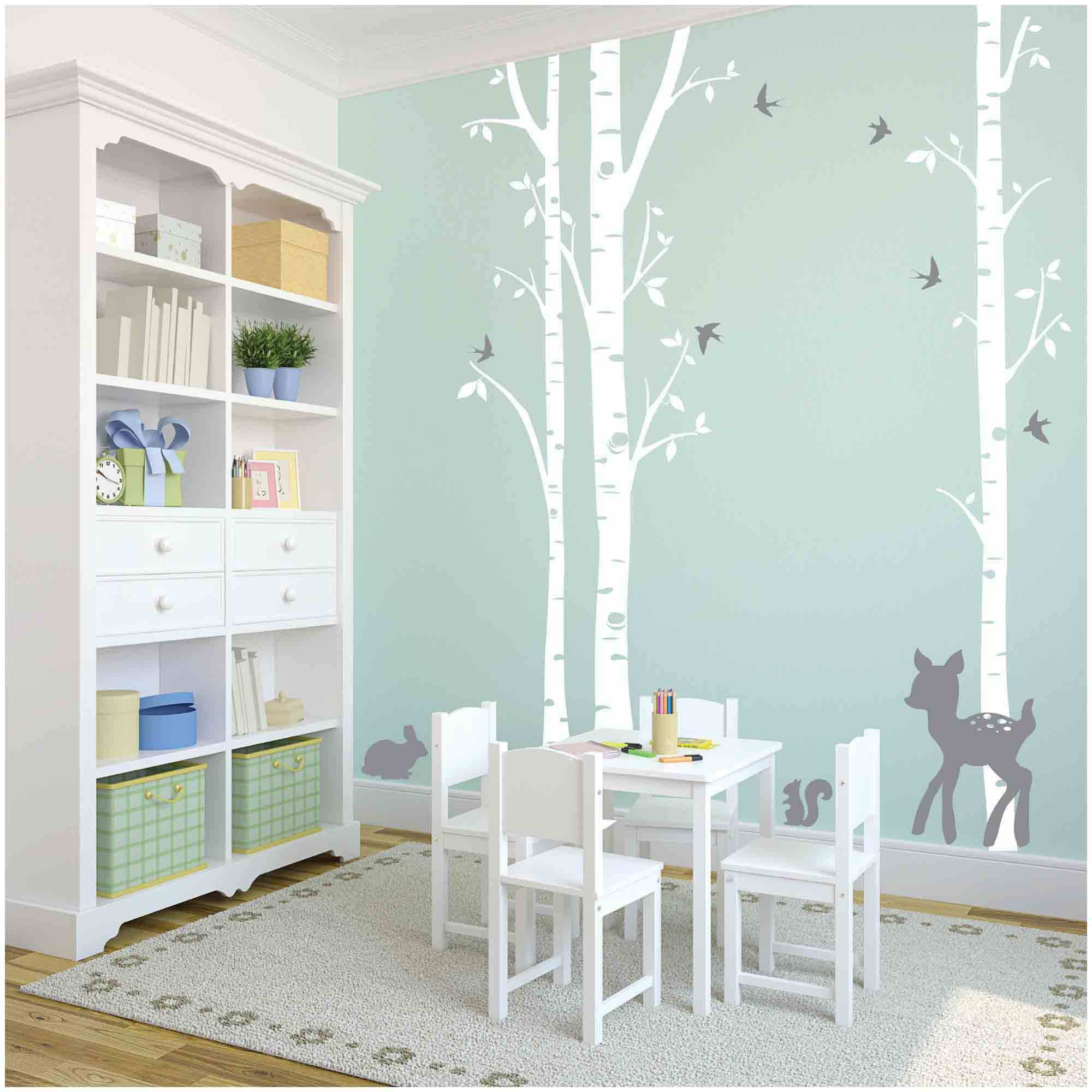 Owl Hills 3 Birch Trees Wall Stickers White With Grey Fawn Bunny Squirrel And Birds