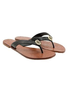 e33fb999fcd2 Product Image Tory Burch Women s Thora Flat Thong Sandal - Black Gold  Tumbled - Size 7