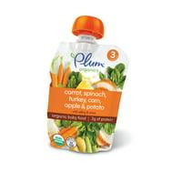 (4 Pack) Plum Organics Stage 3 Carrot, Spinach, Turkey, Corn, Apple & Potato, 4oz
