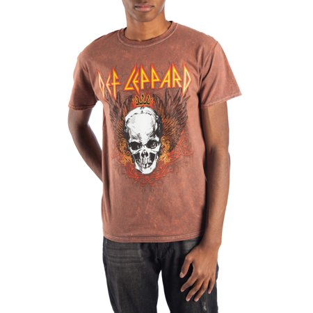 33721de46 Music - Men's Brown Oil Washed Def Leppard Skull Short Sleeved Tee -  Walmart.com