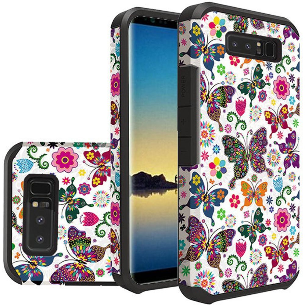 For Samsung Note 8 Rubberized Design Case Hybrid - Colorful Butterfly Flower Polka Dot Floral