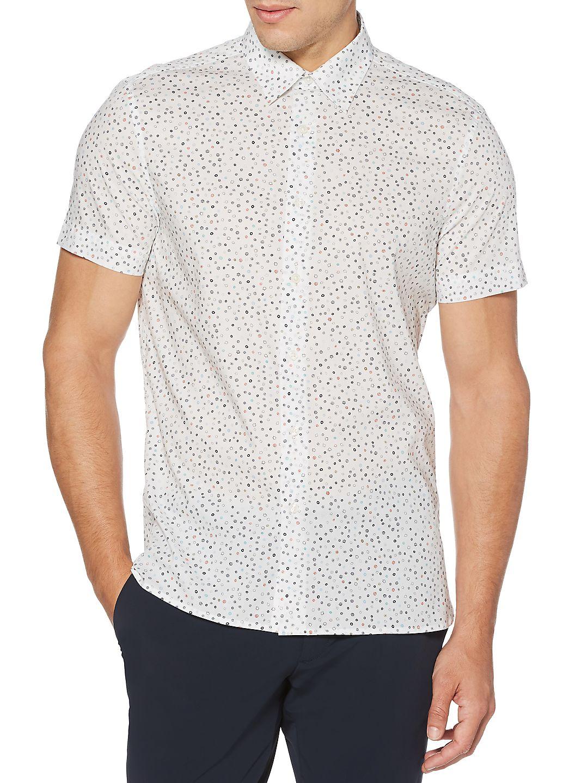 Regular-Fit Stretch Geo-Print Short-Sleeve Button-Down Shirt