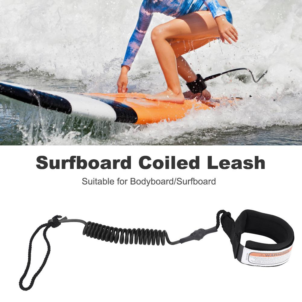 Surfboard Leash Coiled Stand UP Paddle Board Surfing Ankle Leash Leg Rope NEW