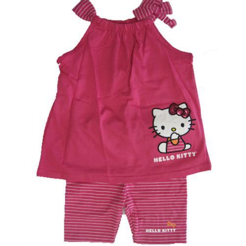 Hello Kitty Little Girls Fuchsia Bow Strap Sleeve 2 Pc Pants Set 4-6X