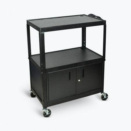 42 Adjustable Height Av Cart (Extra Large Adjustable Height Steel AV Cart Three Shelves Black Electric )