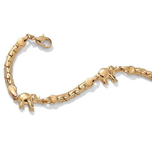 Palm Beach Jewelry Gold Plated Elephant Ankle Bracelet