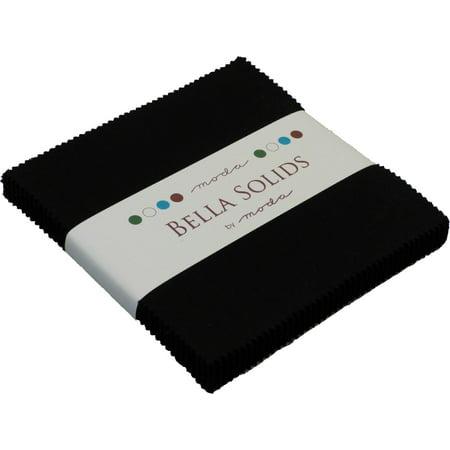 "Bella Solids Black Moda Charm Pack; 42 - 5"" Precut Fabric Quilt Squares"