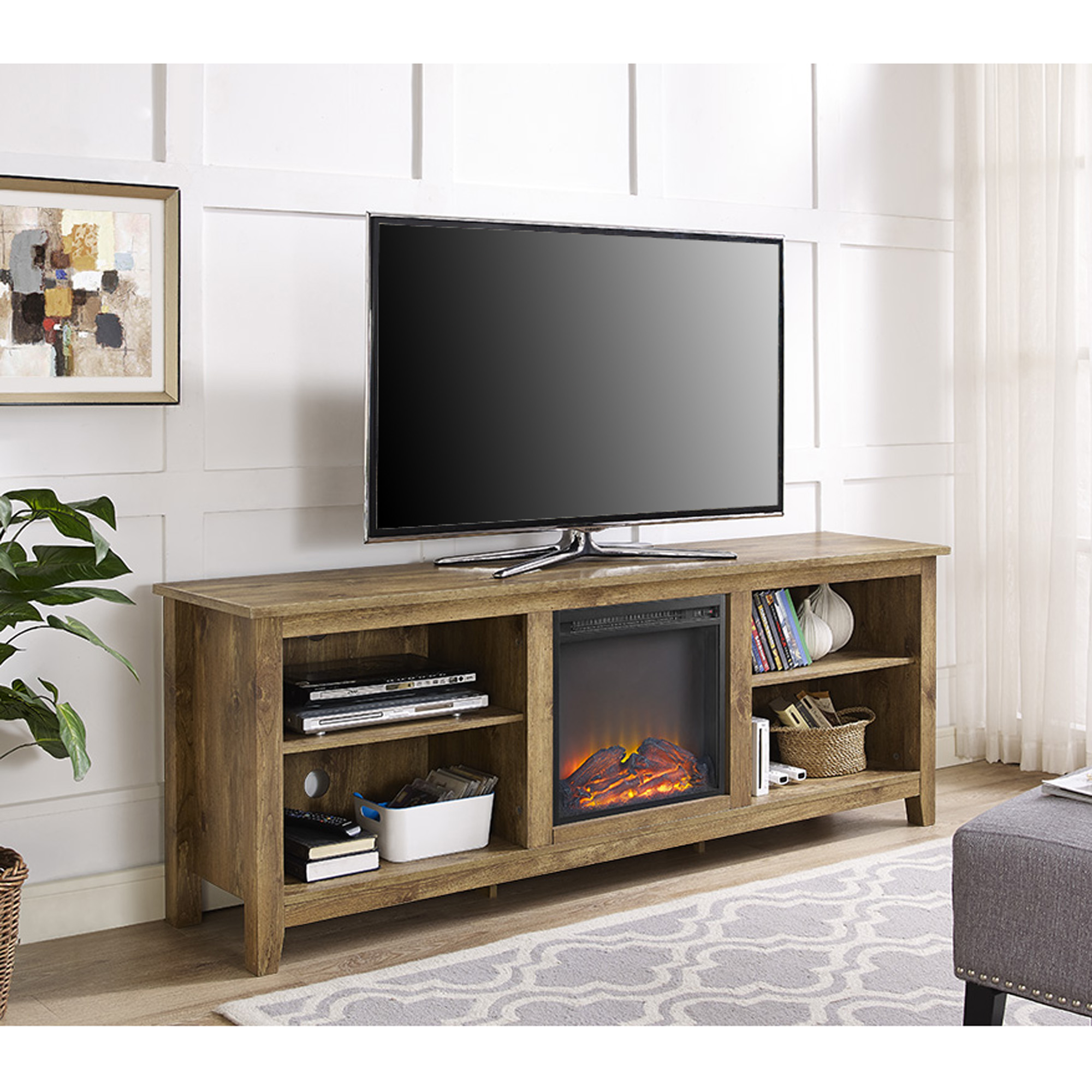 "70"" Fireplace TV Media Storage Stand for TV's up to 75"", Barnwood"