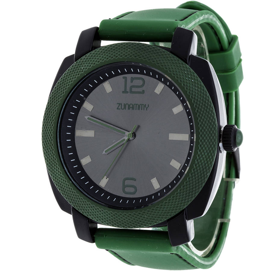 Zunammy Men's Sports Watch, Green Rubber Strap