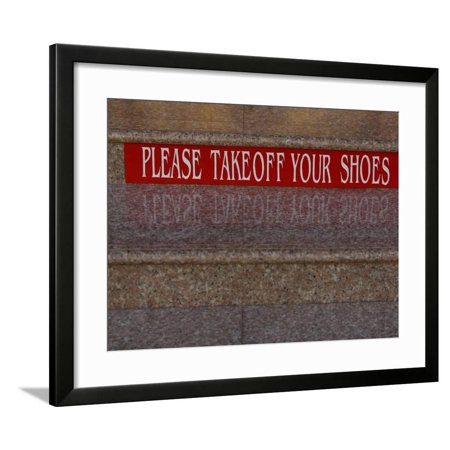 c010b54e9a1a8 Take Off Shoes Sign on Stairs Framed Print Wall Art