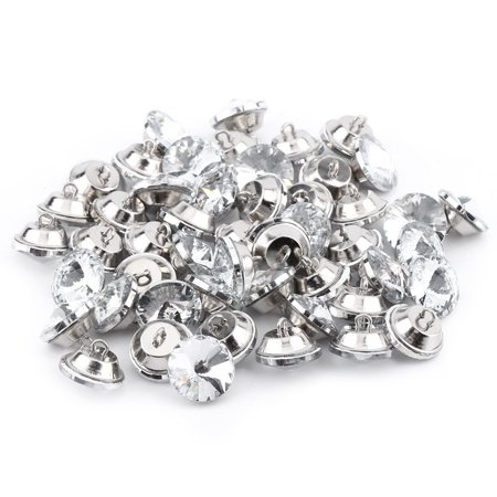 Rhinestone Crystal Buttons With Metal Loop Round Buttons For Sewing Sofa Upholstery Button DIY Crafts Decoration , Pack of 50 ( Size:20mm ) (Rhinestone Upholstery Buttons)