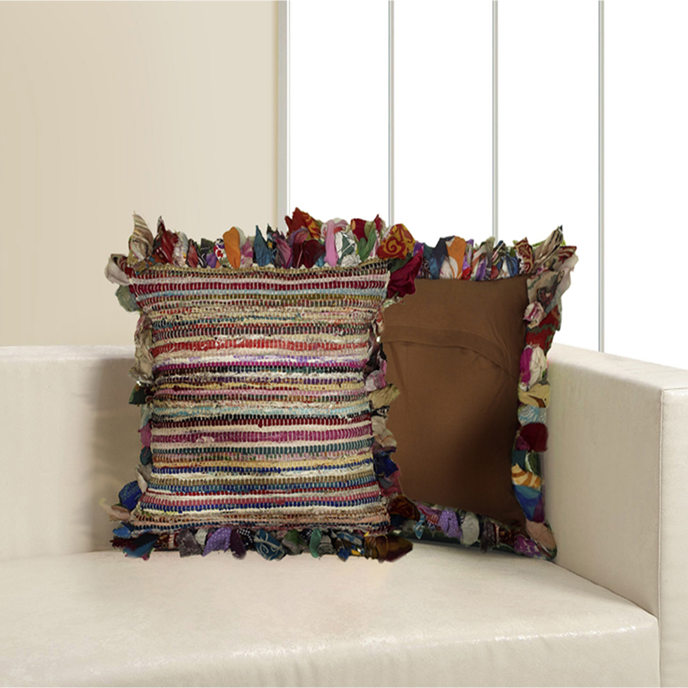 "LR Home Rafi Chindi Stripe Multi Color 18"" x 18"" Butterfly Border Fringe Indoor Square Woven Throw Pillow"