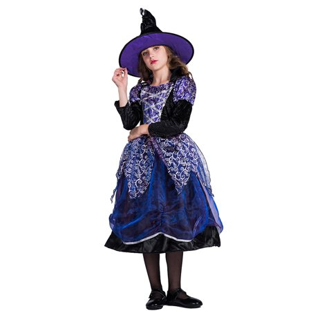 Girls Halloween Witch Costume Dress & Hat Kit Masquerade Cosplay Party Props--S Size for 4-6 Years Old Girls](Halloween Crafts For Four Year Olds)