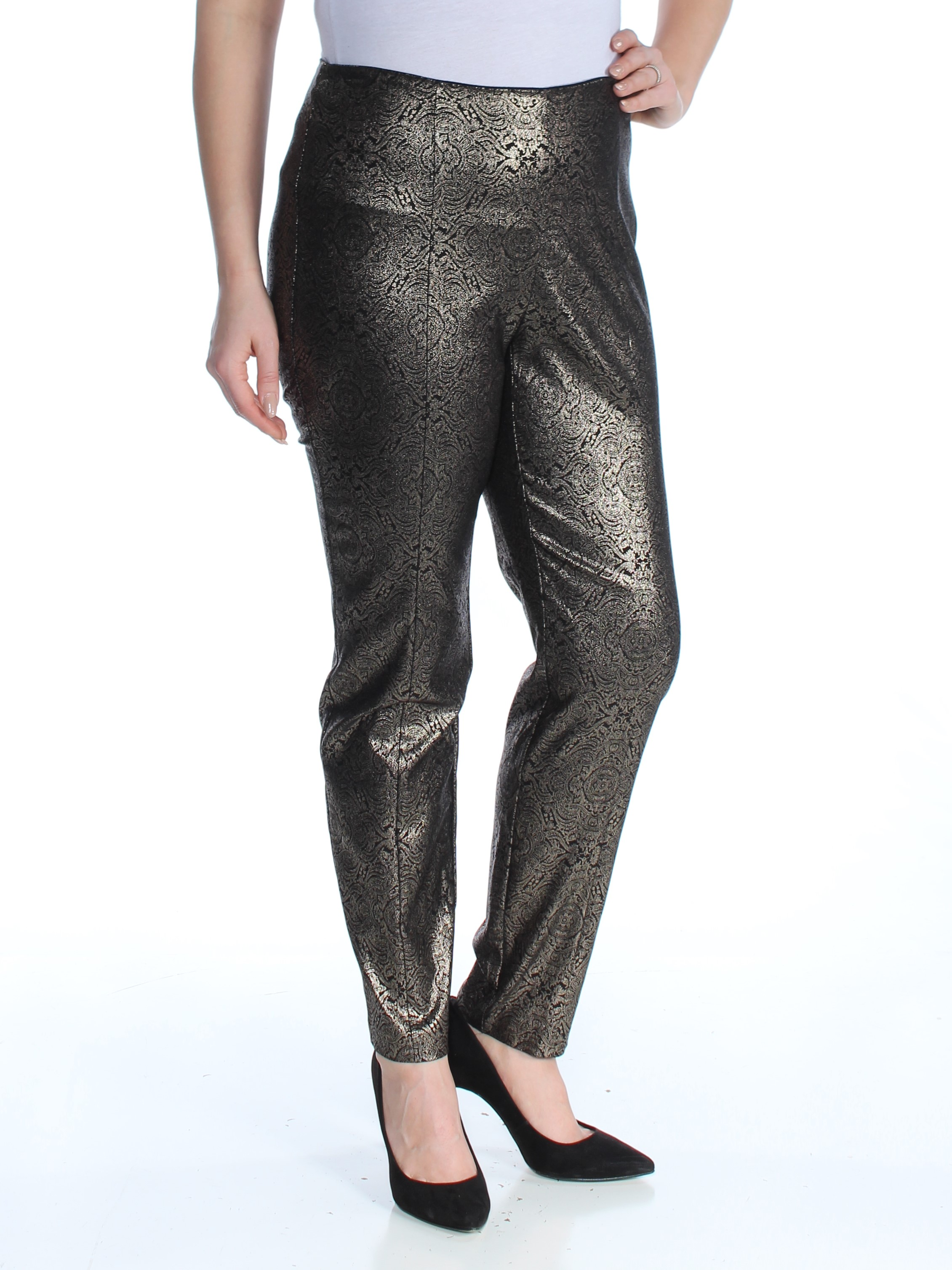ea6f7223ddf84 ALFANI Womens Gold Metallic Skinny Cocktail Pants Plus Size  14W