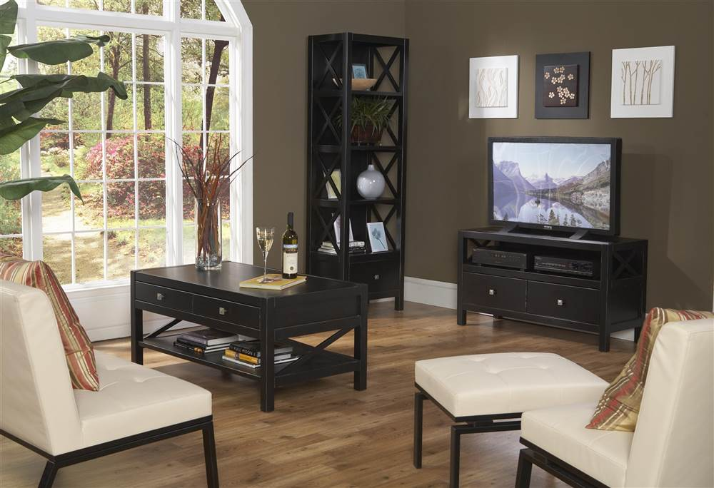 Modern Living Room Set With TV Console, Bookcase U0026 Coffee Table    Walmart.com