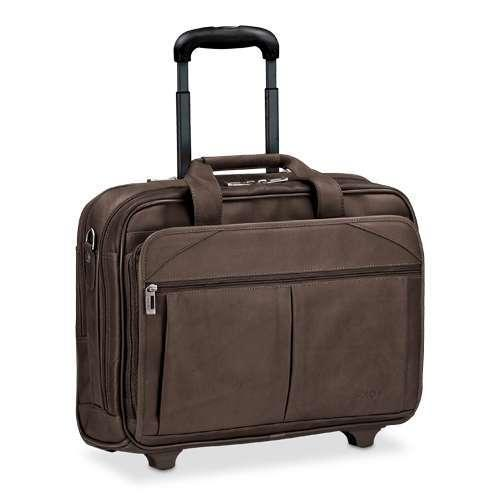 """Solo D529-3 Leather Rolling Laptop Case - Fits Notebook PCs up to 15.6"""", Espresso"""