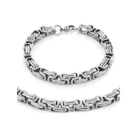 West Coast Jewelry Stainless Steel Byzantine Chain Necklace 24 And Bracelet 9