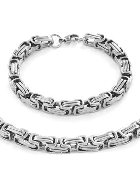 """Product Image West Coast Jewelry Stainless Steel Byzantine Chain Necklace (24"""") and Bracelet (9"""
