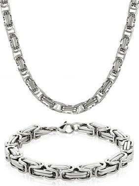 "West Coast Jewelry Stainless Steel Byzantine Chain Necklace (24"") and Bracelet (9"") Set"