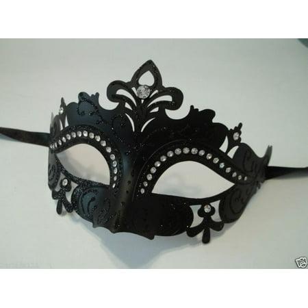 Black Princess Venetian Mask masquerade Crystal Laser Cut Mardi Gras - Carnivale Chicago Halloween