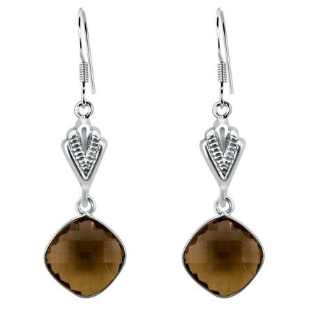 36.1 Carat Cushion Cut Brown Smoky Quartz 925 Sterling Silver Dangle Earrings