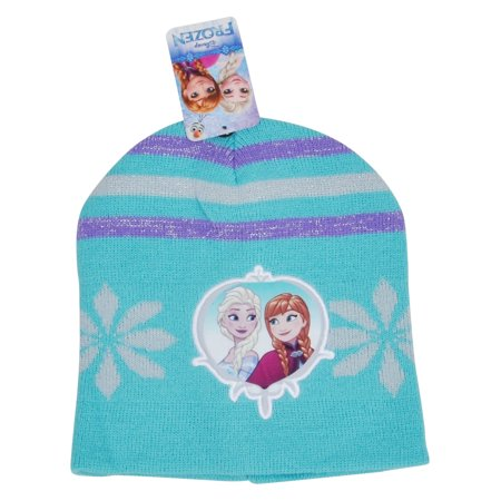 Girls Disney Frozen Knit Cuffed Beanie Hat Anna Elsa Blue Purple