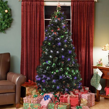 best choice products 7ft pre-lit fiber optic artificial christmas