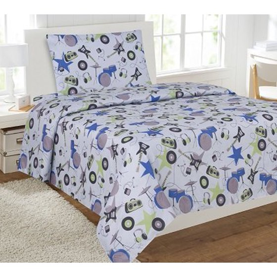 3pc instrument 2 kids microfiber twin size bedding bed set 1 flat 1 fitted sheet and 1. Black Bedroom Furniture Sets. Home Design Ideas