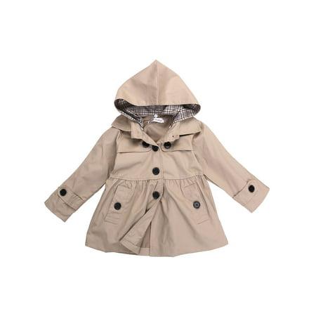 Lookwoild Girl Kids Hooded Long Trench Rain Coat Jacket Parka Fleece Outwear ()