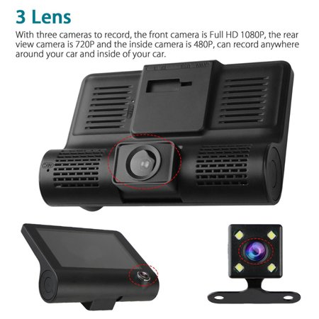 Car DVR Camera 4.0in 3 Way Lens Video Driving Recorder Rear View Auto Registrator With 2 Cameras Dash Cam DVRS Carcorder Night Vision Parking Monitor - image 5 of 7