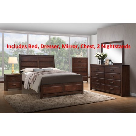 6 Piece Walnut Wood King Size Contemporary Bedroom Set (Bed, Dresser &  Mirror, Chest, 2 Nightstands)
