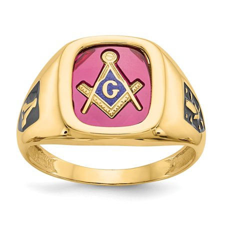 Solid 10k Yellow Gold Red Acrylic Mens Simulated Masonic Ring (12mm) - Size 8 10k Yellow Gold Masonic Ring