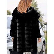 Women's Fashion Thickening Faux Fur Big Hooded Long Parka Coat Overcoat Winter Keep Warm Peacoat Jacket