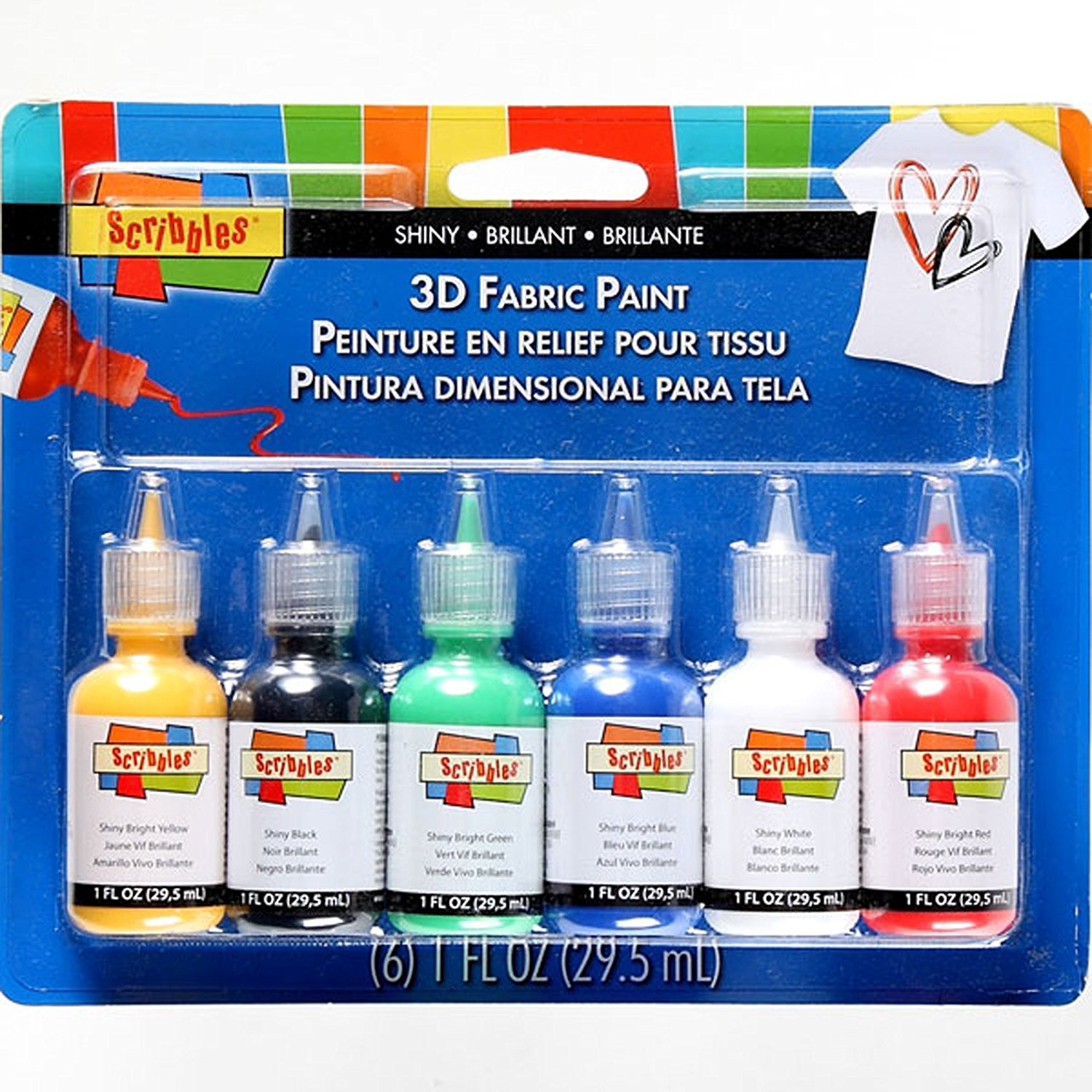 18534 Dimensional Fabric Paint, Shiny, 6-Pack, The Scribbles Shiny set includes Bright Yellow, Black, Bright Green, Bright Blue, White and Bright Red, all in the.., By Scribbles