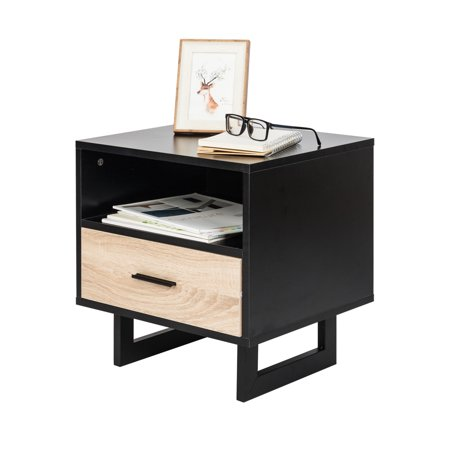 Ktaxon Nightstand 1 Drawer Two-tier Bedside Cabinet Night Table Black 8 Drawer Black Side Cabinet