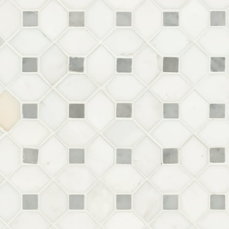MSI Bianco Dolomite Dotty 12.31 in. x 12.36 in. x 10 mm Polished Marble Mesh-Mounted Mosaic Tile (10.6 sq. ft. / case)