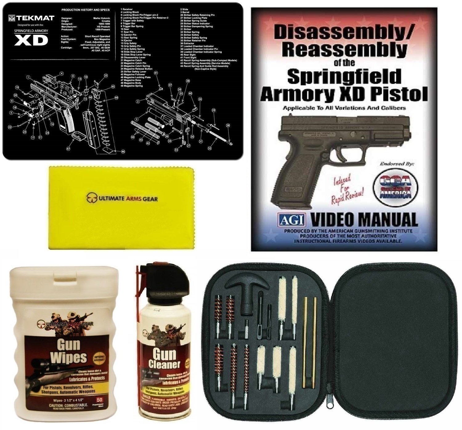 AGI DVD Springfield Armory XD Disassembly Reassembly + Ultimate Arms Gear Gunsmith & Armorer Gun Mat + 17pc Handgun... by