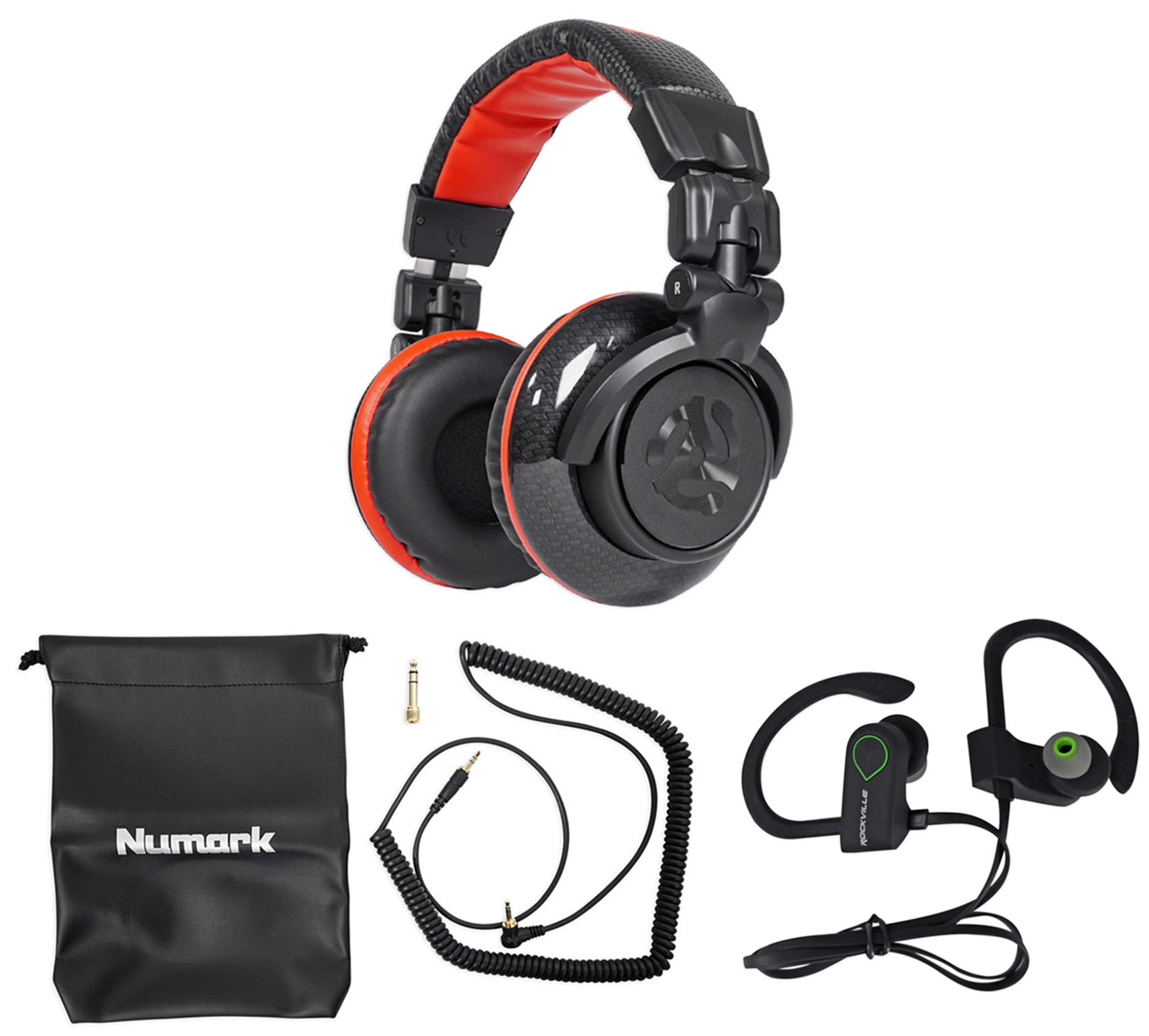 Numark Red Wave Carbon Pro Full-Range Mixing DJ Headphones+Pouch Redwave+Earbuds