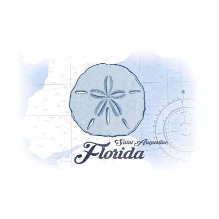 Saint Augustine, Florida - Sand Dollar - Blue - Coastal Icon Print Wall Art By Lantern Press - Halloween Saint Augustine